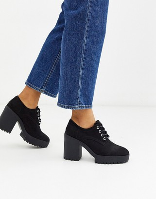 ASOS DESIGN Pupil chunky lace up heeled shoes in black