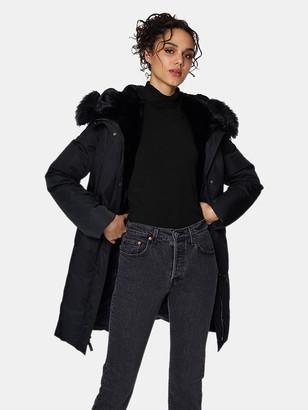 Dawn Levy Luna Long Fitted Parka with Velvet & Fur Trim