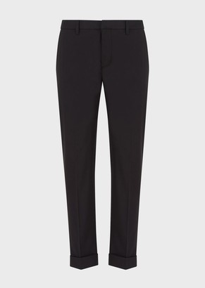 Emporio Armani Stretch Poplin Chinos With Turn-Ups