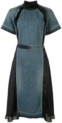 Sacai panelled denim dress