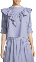 Atlantique Ascoli Dimanche Elbow-Sleeves Striped Poplin Blouse w/ Ruffled Frill