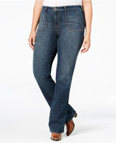 Style&Co. Style & Co. Plus Size Studded Blue Shadow Wash Bootcut Jeans, Only at Macy's