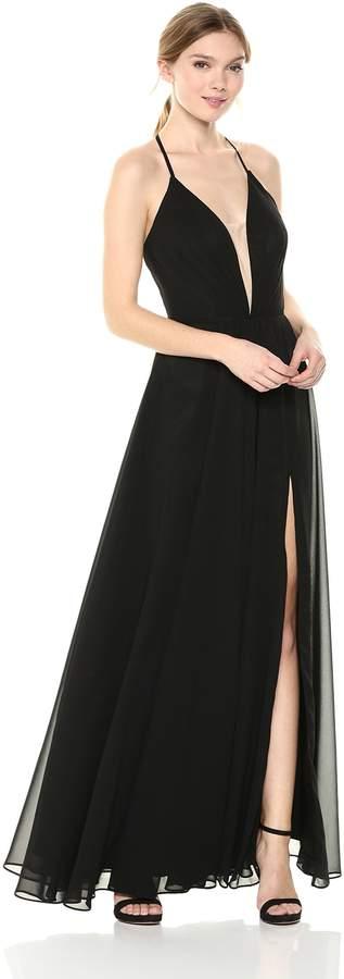Betsy & Adam Women's Long Chiffon lace up Dress