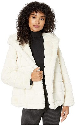 Apparis Goldie 3 Hooded Faux Fur Coat (Ivory) Women's Jacket