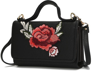 MKF Collection by Mia K. Women's Crossbodies - Black Floral-Embroidered Crossbody Bag