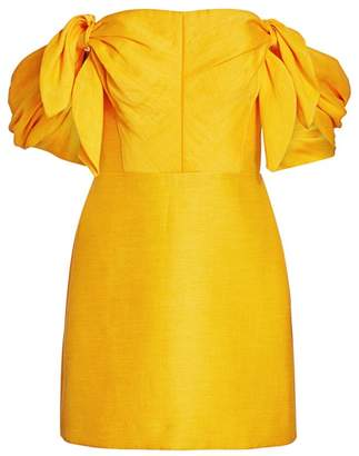 Acler Selkin Off-The-Shoulder Linen-Blend Mini Sheath Dress