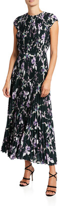 Jason Wu Collection Wild Orchid Printed Crepe Midi Dress