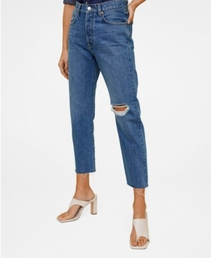 MANGO Women's Straight Fit Cropped Jeans