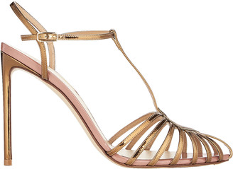 Francesco Russo T-Strap Patent Leather Cage Sandal
