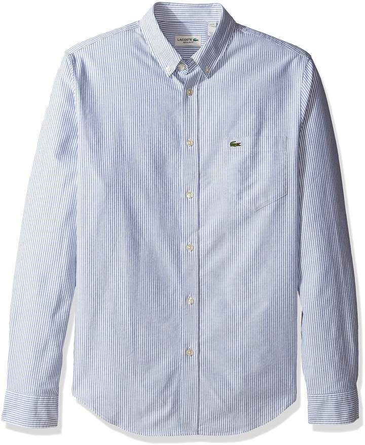 Lacoste Men's Long Sleeve Reg Fit Oxford Bengal Stripe Woven Shirt, CH2293