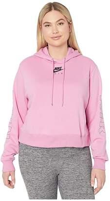 Nike Plus Size NSW Air Hoodie Fleece (Black/Ice Silver) Women's Sweatshirt