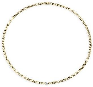 Anita Ko 18K Yellow Gold & Diamond Center Plain Cuban-Link Necklace