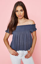 La Hearts Smocked Off-The-Shoulder Top