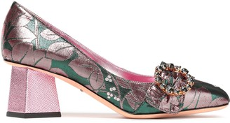 Dolce & Gabbana Crystal-embellished Metallic Brocade Pumps