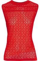 Oscar de la Renta Rib-Trimmed Crochet-Knit Top