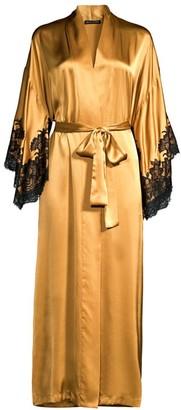 Natori Muse Lace-Trim Silk Robe