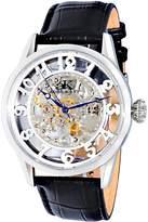 Adee Kaye Men's Glass 46.2mm Black Calfskin Band Steel Case Automatic Silver-Tone Dial Watch AK2296-MSV