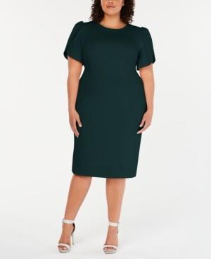 Calvin Klein Size Puff-Sleeve Sheath Dress