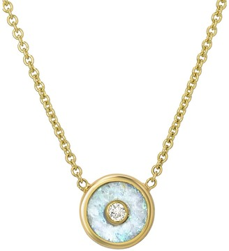 Retrouvaí Mini Australian Opal and Diamond Compass Yellow Gold Necklace