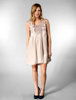 Pintucked Ruffle Dress in Dusty Pink