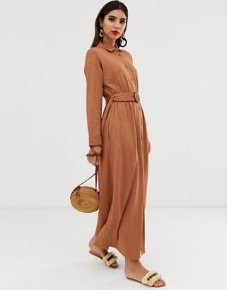 Asos Design DESIGN maxi belted textured shirt dress-Beige