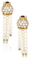 Christian Dior 18K Yellow Gold Precious Gemstone & Pearl Dangle Earrings