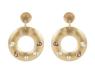 Alexis Bittar Crystal Studded Donut Post Earrings, Taupe