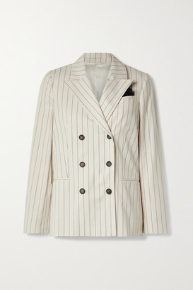 Brunello Cucinelli Regimental Double-breasted Pinstriped Cotton-blend Blazer - Beige
