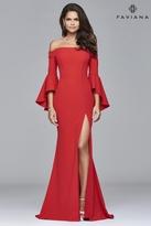Faviana s8002 Long off-the-shoulder crepe dress