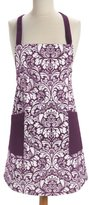 DII 100% Cotton, Fashion Printed Damask Unisex Chef Kitchen Apron, Adjustable Neck Strap & Waist Ties, Machine Washable, Front Pockets, Perfect for Cooking, Baking, Barbecuing, & More - Eggplant