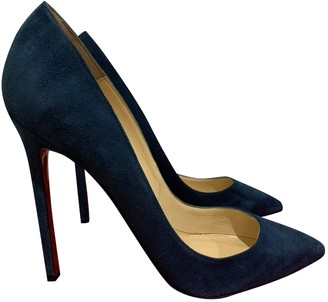 Christian Louboutin Pigalle Blue Suede Heels