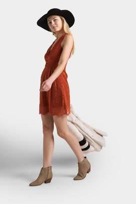 francesca's Ellis Lace Tank Dress - Terracotta
