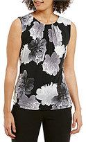 Calvin Klein Floral Print Matte Jersey Pleat Neck Shell
