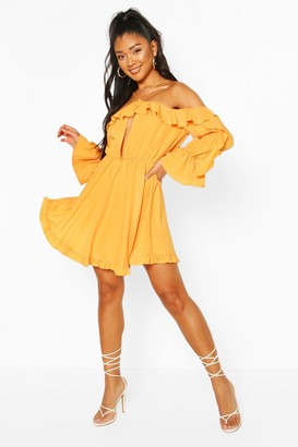 boohoo Off The Shoulder Ruffle Keyhole Skater Dress