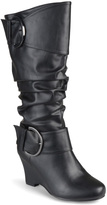 Journee Collection Black Meme Wide-Calf Boot