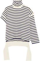 Balenciaga One-shoulder Distressed Striped Wool-blend Turtleneck Sweater