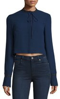 Elizabeth and James Newkirk Cropped Tie-Front Jacket, Royal