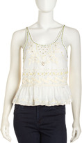 Free People Crochet Cropped Tank, Ivory