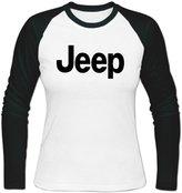 Sadytui Womens Cotton Graphic Jeep Logo Long Baseball T-shirts L