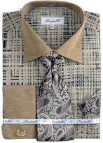 Sunrise Outlet Men's Tone On Tone French Cuff Shirt Cufflinks - Black/ 17.5 36-37