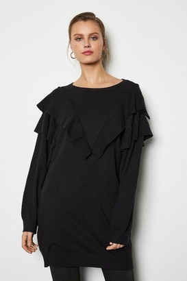 Karen Millen Ruffle Long Sleeve Long Jumper