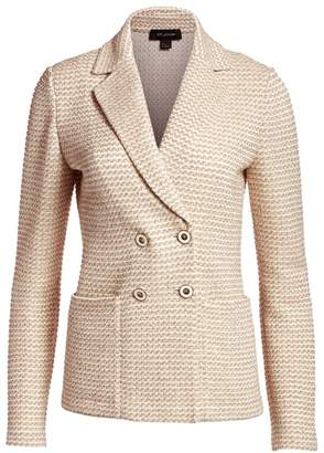 St. John Rope Tweed Knit Double Breasted Jacket