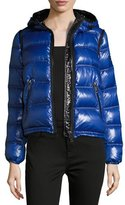 Burberry Mapleford 2-in-1 Glossy Puffer Jacket w/ Zip-Off Sleeves, Blue