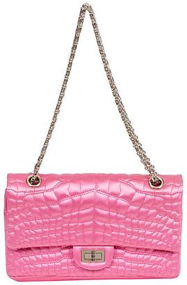 One Kings Lane Vintage Chanel Pink Satin Silk Croc Double Flap - Vintage Lux