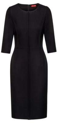 HUGO Pencil dress in crepe with front piping