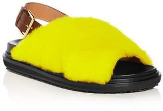 Marni Women's Fussbett Shearling Slingback Sandals