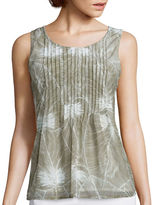 Liz Claiborne Sleeveless Mesh Pleated Top - Tall