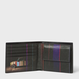 Paul Smith Men's Black Leather 'Mini' Print Interior Billfold And Coin Wallet
