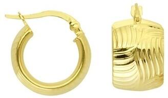 Curata 14k Yellow Gold 10mm Weave Design Wide Hoop Earrings