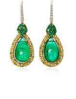 Martin Katz Pear Shape Emerald Cabochon Earrings
